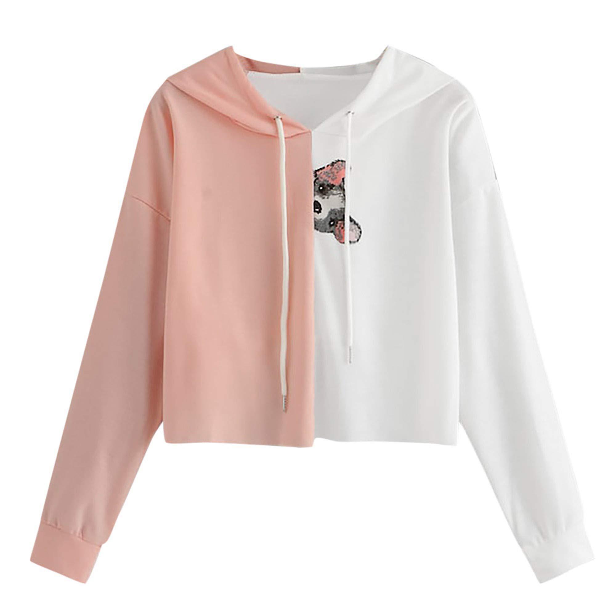 SMALLE ◕‿◕ Lovely in Women's Hoodies-Tops- Dog Printed Long Sleeve Short Drawstring Sweatshirt