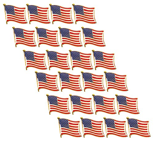 American Flag Lapel Pins - 24-Pack USA Pins, Patriotic US Flag Pins for National Days Celebrations and Daily Outfits
