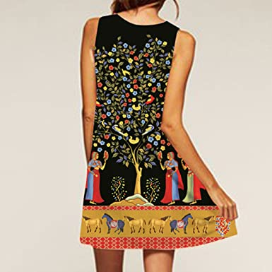 Honghu Mujer Elegante Vestido de Verano Casual Maxi Mini Vestido de Fiesta Noche de Impresion Dress: Amazon.es: Ropa y accesorios