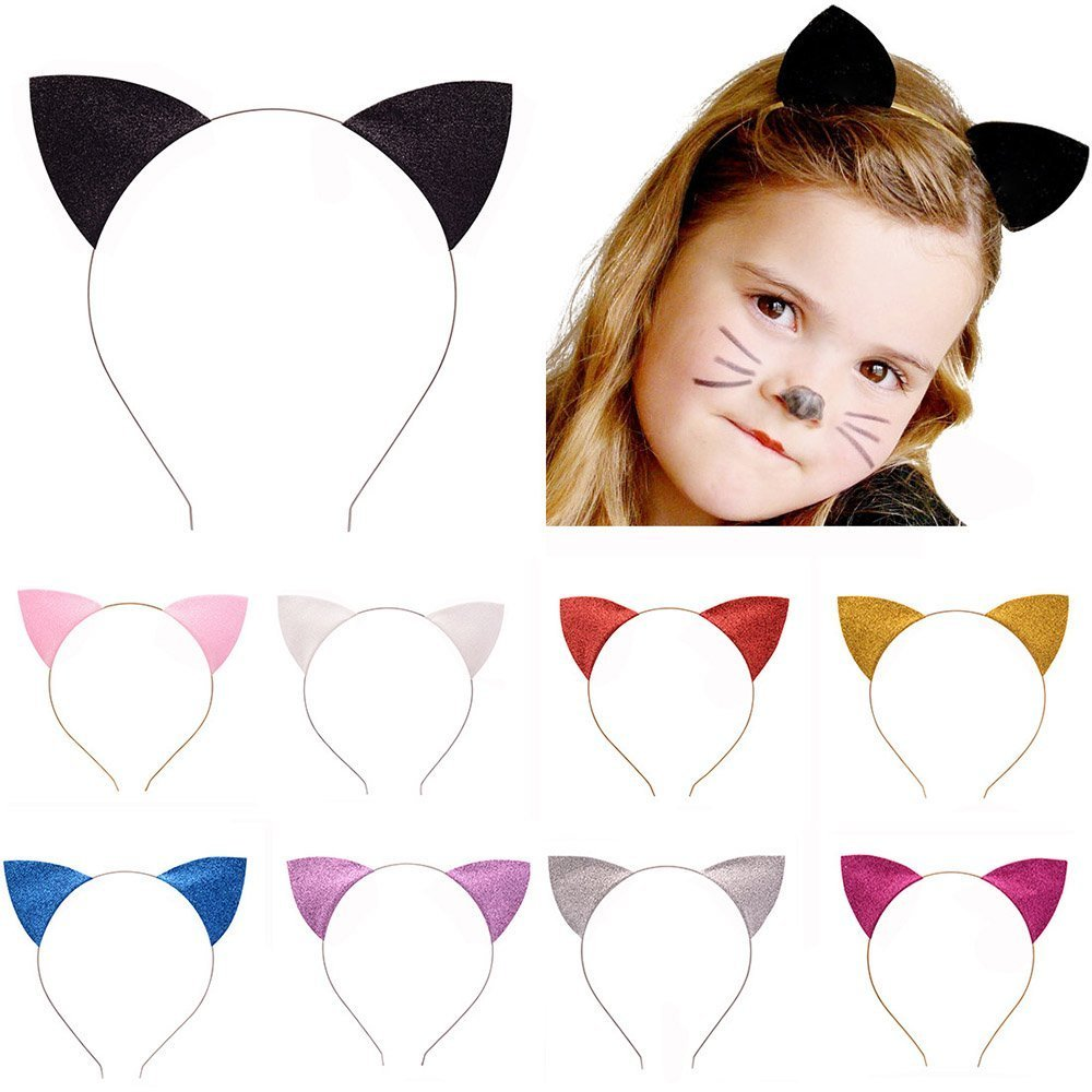 Silver Sparkly cat ears on a slim headband hair band school play dressing up