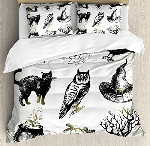 Ambesonne Vintage Halloween Duvet Cover Set King Size, Halloween Related Pictures Drawn by Hand Raven Owl Spider Black Cat, Decorative 3 Piece Bedding Set with 2 Pillow Shams, Black (Halloween Related Photos)
