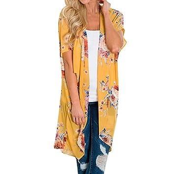 Mujer blusa abrigo Bohemian estampado de playa,Sonnena Mujeres chifón estampado Cardigan de flores largo