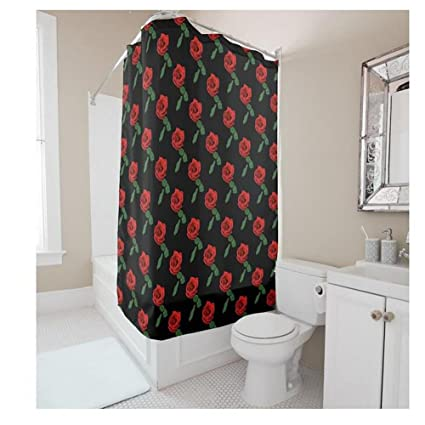 WHYGAO Creative Red Rose Shower Curtains DIY Supports Custom Curtain Greenest Mildew Resistant Anti