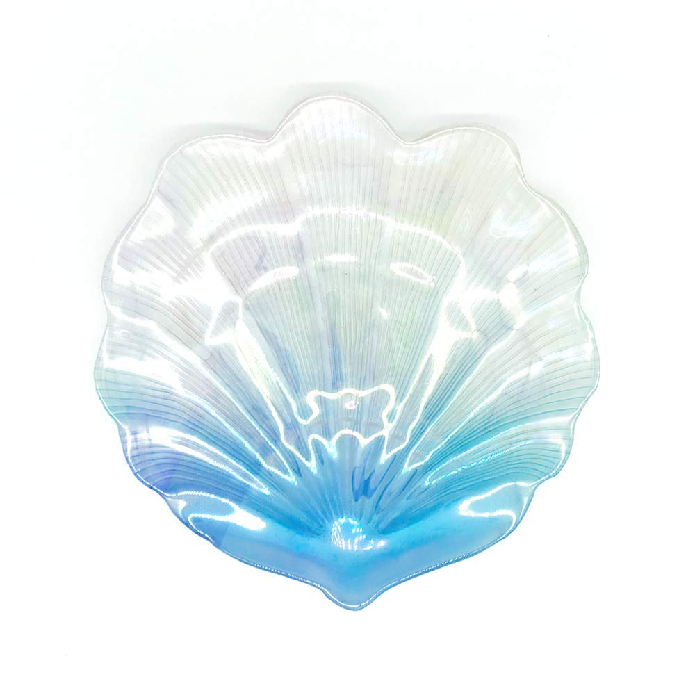 MIYA LIFE 1Pcs Iridescent Blue Sea Shell Glass Dessert Plate in Ocean Style for Cool Summer Party Chip Fruit Salad Dishes Cake Platter