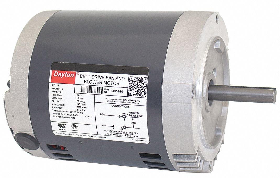 Dayton 1/3 HP Belt Drive Motor, Split-Phase, 1140 Nameplate RPM, 115 Voltage, Frame 56CZ