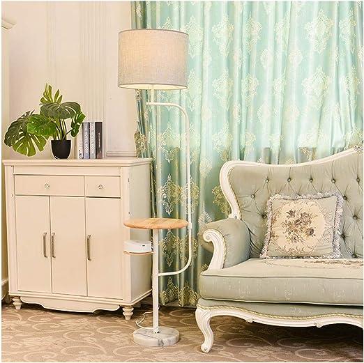 Lámpara de pie inalámbrica de LXMBHDB, para salón, dormitorio, mesita de noche, lámpara de mesa creativa vertical, para salón, comedor, estudio, dormitorio, audio, madera, lámpara de tela: Amazon.es: Hogar