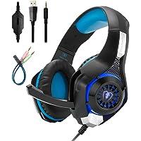 Mengshen Auriculares para Juegos para PC/Laptop/Smartphones / PS4 / Xbox One - con Micrófono, Control de Volumen, Luces LED Frescas Y Almohadillas Suaves - GM1 Blue