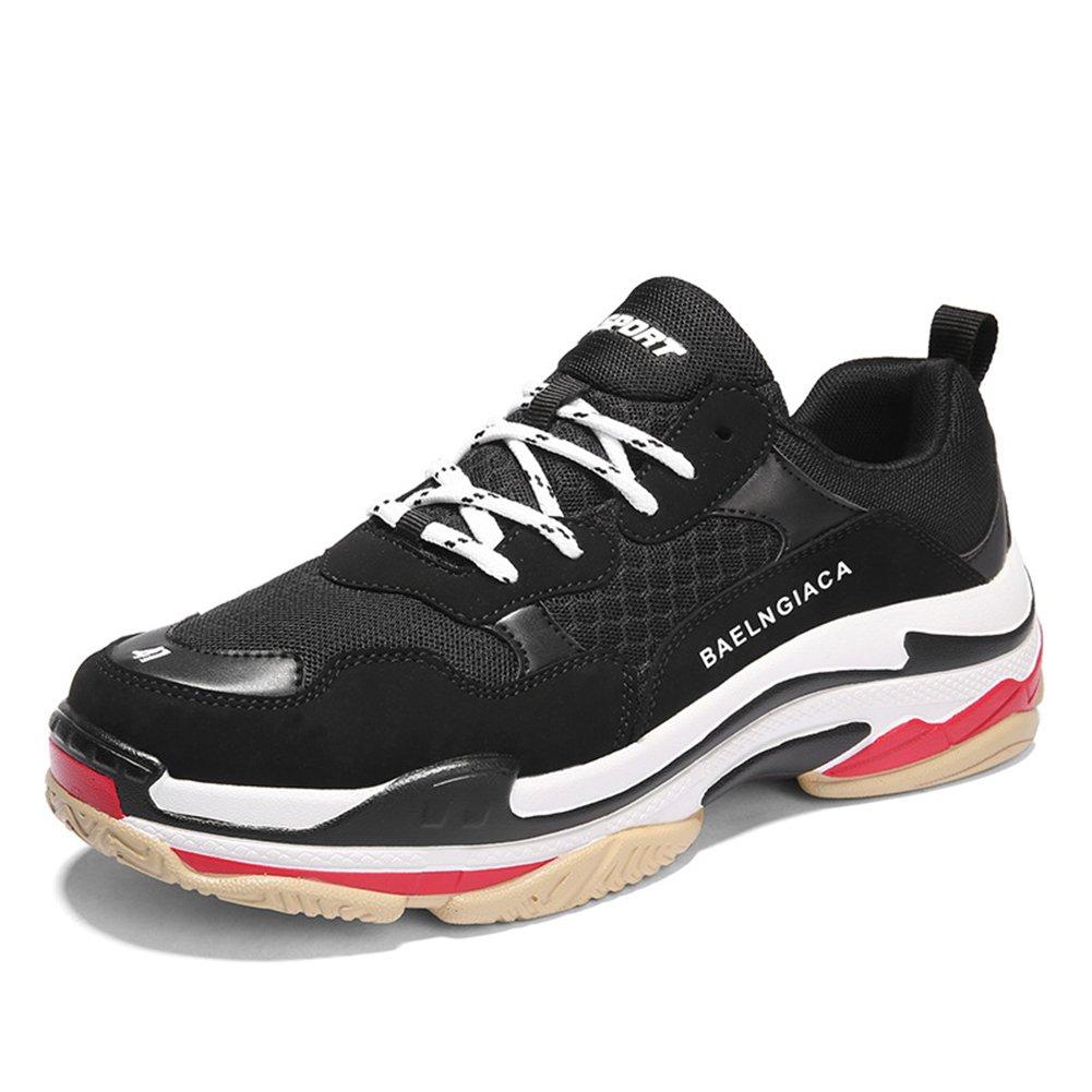 New Hombres/Mujeres de Gran Tamaño Mesh Layer Four Seasons Sneakers Running Zapatos de Gran Tamaño Heighten Shoes Lovers Ocio/Viaje/Zapatos para Caminar EU Size 45 EU|Negro