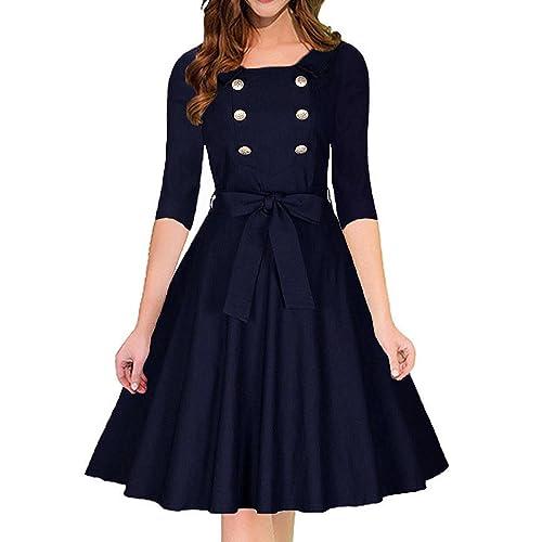 Villelove Women's Vintage 3/4 Sleeve Navy Style Belted Retro Evening Dress