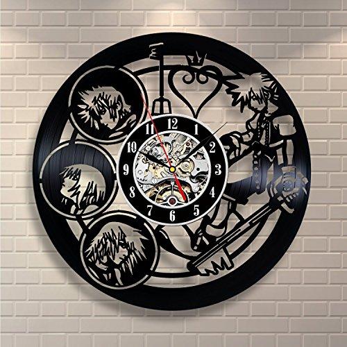 Kingdom Hearts Vinyl Record Wall Clock - Contemporary Kingdom Hearts Fan Art Design - Get unique home wall decor - Gift Ideas for Men and Boys - Hearts Design Faceplate
