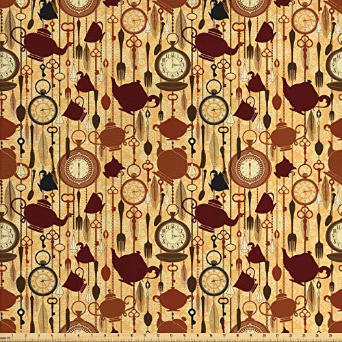 Ambesonne Tea Party Fabric by The Yard, Breakfast Time Items Teacup Forks Spoons Chain Together Victorian Style Print, Decorative Fabric for Upholstery and Home Accents, 2 Yards, Brown Redwood