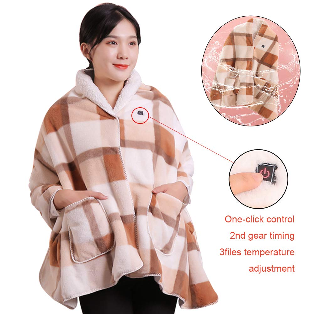 Blanket Heated Shawl Battery Operated SUB Cordless Wrap for Women, Electric with Auto Shutoff Ultra Soft Throw Flannel Warm Cape, for Car Office Chair-Machine Washable 170x70cm