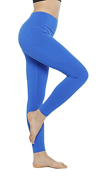 fc73e34df Yoga Pant for Women Gym with Pocket Gym Tights for Women Light Blue   Amazon.in  Clothing   Accessories