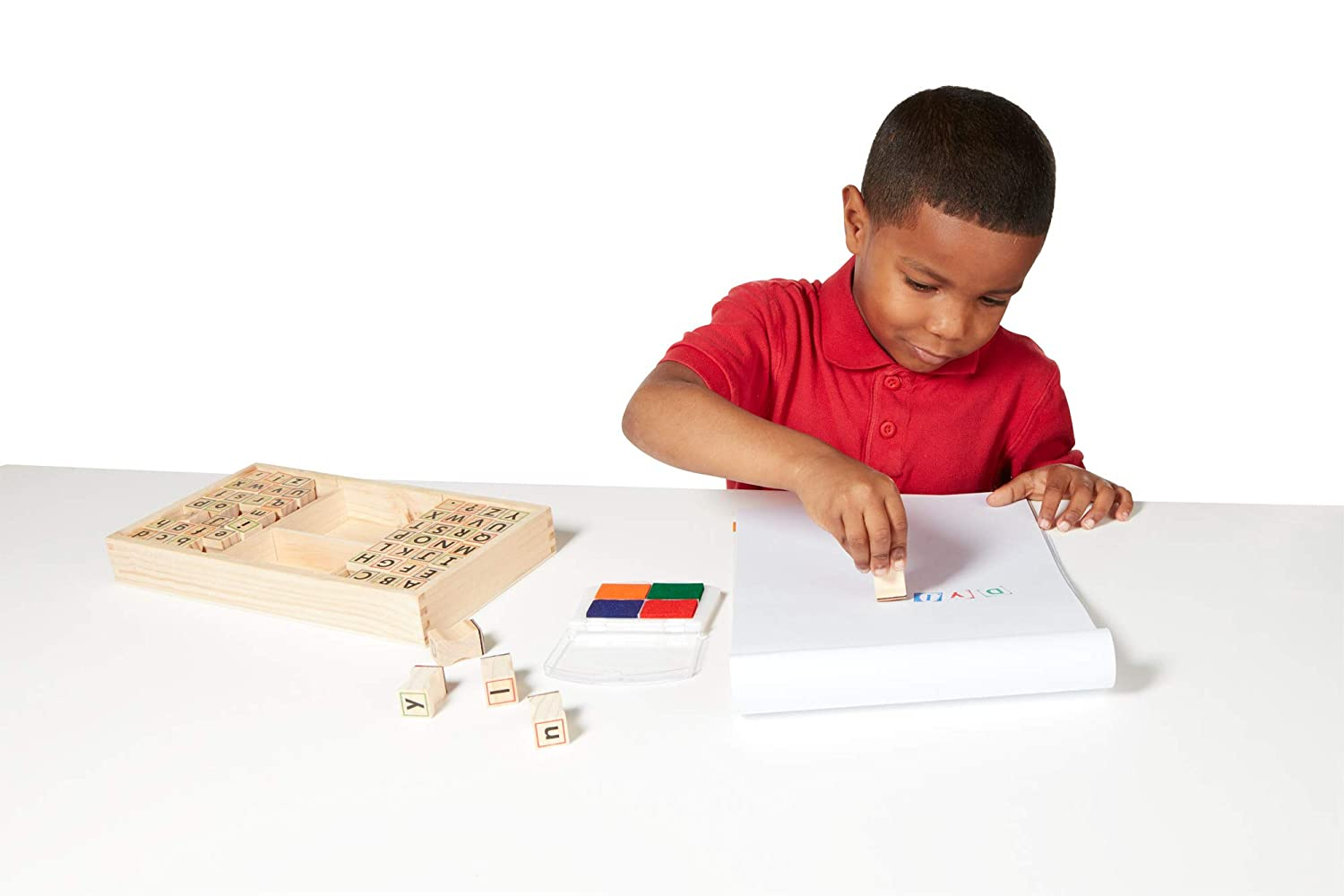 1.5 H /× 6.5 W /× 12 L 1.5 H /× 6.5 W /× 12 L 3557 Melissa /& Doug Alphabet Stamp Set 56-Stamps Stamps with Lower-Case and Capital Letters 4 Colors