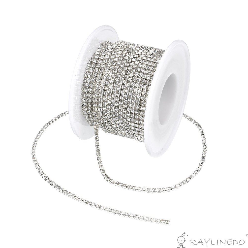 3A Class 3mm Clear Rhinestone Diamante Silver Plated Chain 10 Yard Lenght for Wedding Supplies DIY Sewing Craft Jewellery Making Party Decorations RayLineDo