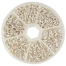 PandaHall Elite Split Rings Jump Ring 4-10mm Silver Color 1 Box for Jewelry Making by Pandahall