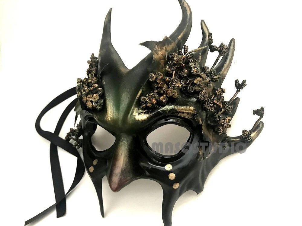 MASQSTUDIO Woodland Antler Gobin Forest Fairy Medusa Demon Halloween Devil Masquerade Ball Mask with Horns (Demon) by MASQSTUDIO