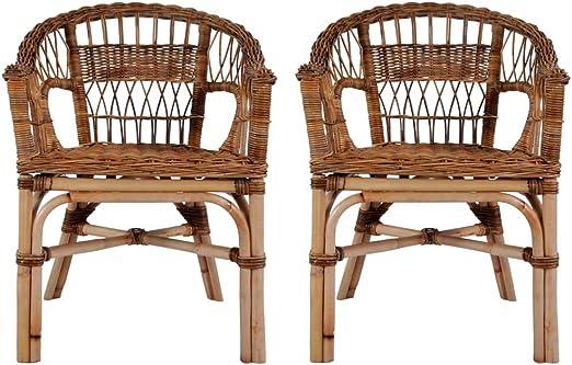 Tidyard Juego de 2 Sillas de Jardín Exterior para Jardín Balcón Patio Terraza,Estilo Vintage,Ratán Natural,Resistentes al Agua,Marrón 55x59x81cm: Amazon.es: Hogar