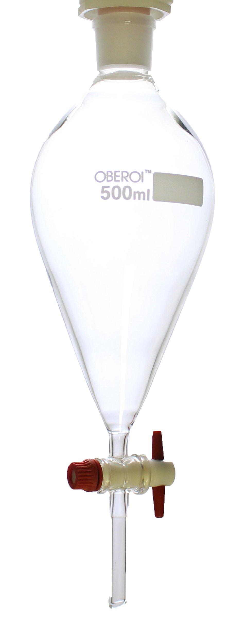 Separatory Funnel w/PTFE Stopcock, Squibb Shape, Borosilicate 3.3 Glass, 500 mL by Oberoi Laborglas