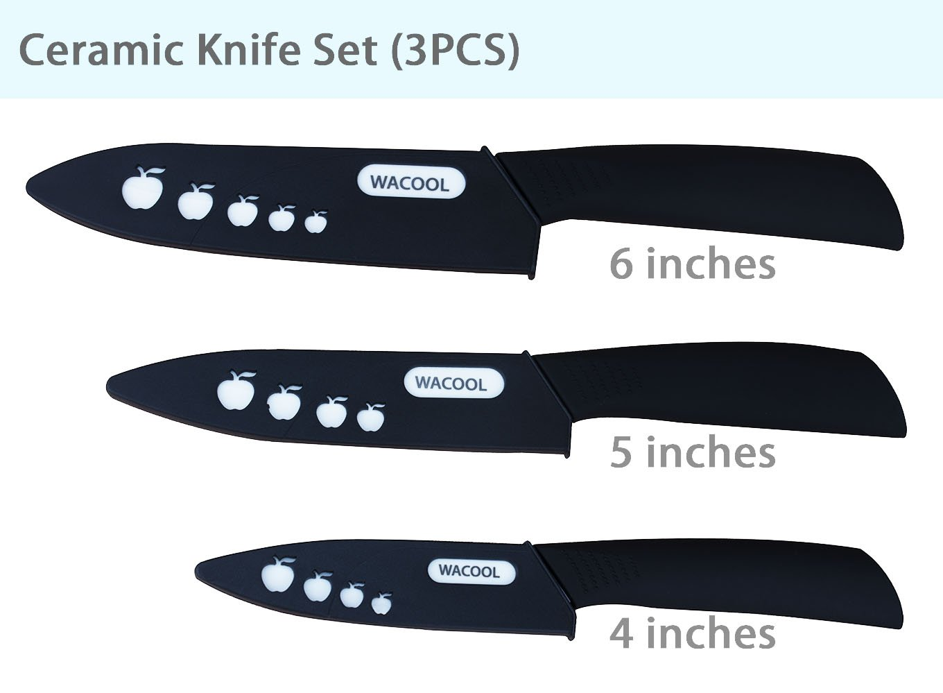 WACOOL Ceramic Knife Set 3-Piece (Includes 6-inch Chef's Knife, 5-inch Utility Knife and 4-inch Fruit Paring Knife), with 3 Knife Sheaths for Each Blade (Black Handle) by WACOOL (Image #2)