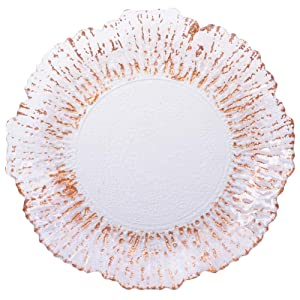 Koyal Wholesale Reef Glass Charger Plates, Bulk Set of 4, Rose Gold Copper Foil Luster Rim Starburst Charger Plates for Dining Table Setting, Wedding Reception Decorations, Christmas Tablescape