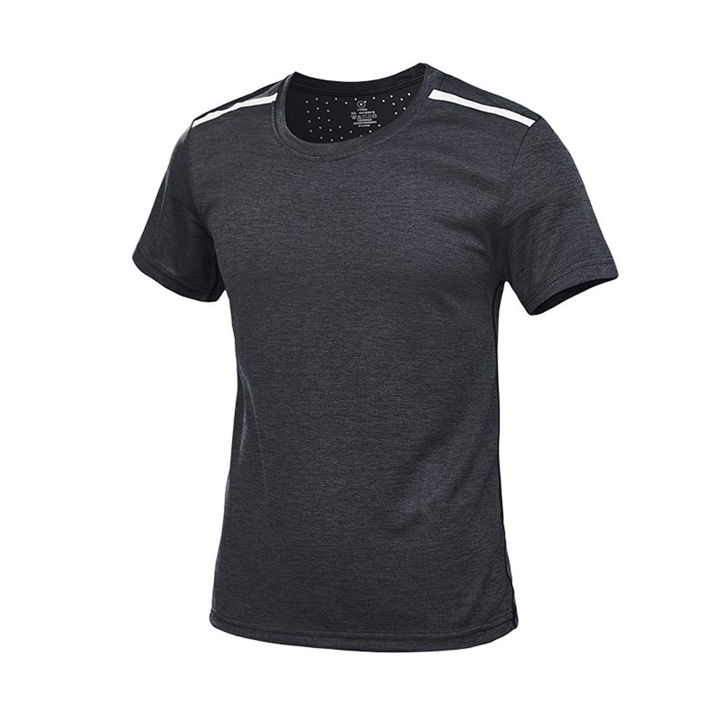 Amazon.com: YKARITIANNA Mens Summer Casual O-Neck T-Shirt Fitness Sport Fast-Dry Breathable Top Blouse