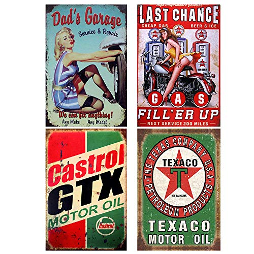 FlowerBeads Old Time Signs, Gas Station Bar Pub Home Wall Decor Motor Oil Metal Poster Gasoline (4PCS, 20X30cm)