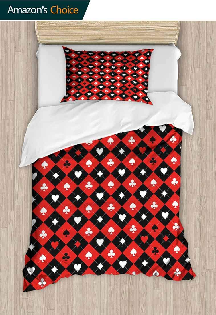 Poker Tournament Decorations Custom Made Quilt Cover and Pillowcase Set, Card Suit Chess Board Classic Checkered Pattern Symbols, Decorative 2 Piece Bedding Set with 1 Pillow Sham, 63 W x 82 L Inches