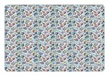 Ambesonne Sea Animal Pet Mat for Food and Water, Starfish Shells Crab Octopus Figures Colorful Art Inspired by Aquatic Wildlife, Rectangle Non-Slip Rubber Mat for Dogs and Cats, Multicolor