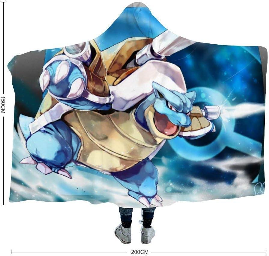MEW Anime Poke-mon Hooded Blanket,Blastoise,Fleece Flannel Wearable Super Soft Warm Throw Blanket,for Winter Sofa School Home Travel Picnic Carrying Kids,39x51 inch