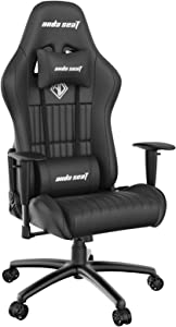 Gaming Chair for Adults,ANDASEAT Jungle Ergonomic Swivel Cheap Computer Game Chairs,PVC Leather Adjustable Armrest Video Office Chair with Headrest Lumbar Pillow,160°Recliner Rocker Home Chair(Black)
