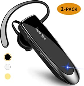 [2 Pack] Bluetooth Earpiece Wireless Handsfree Headset New Bee 24 Hrs Driving Headset 60 Days Standby Time with Noise Cancelling Mic Headset Case for iPhone Android Samsung Laptop Truck Driver