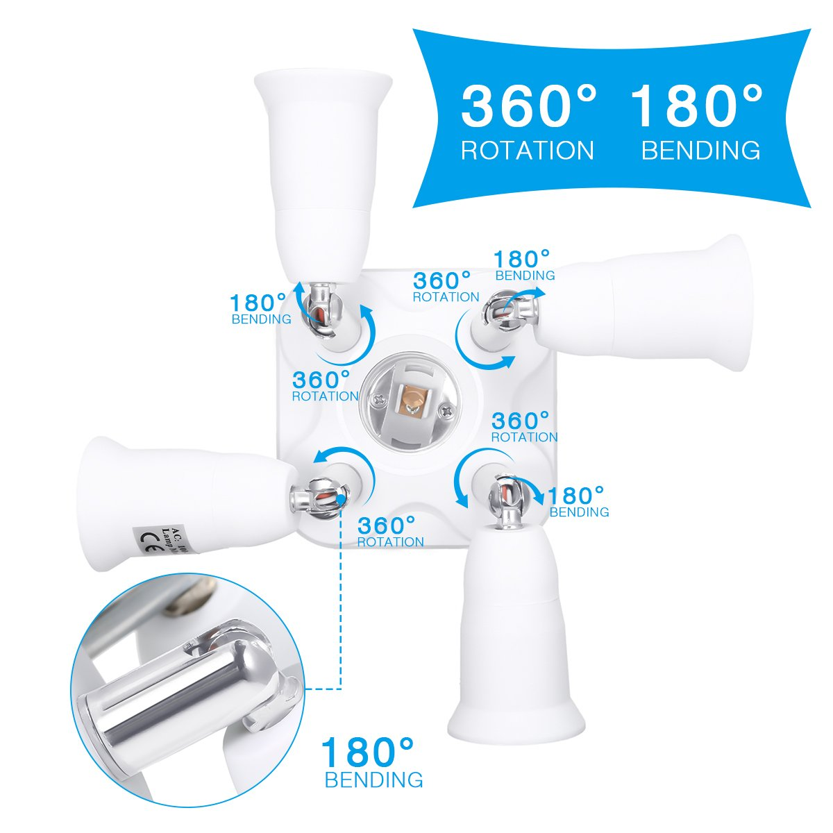5 in 1 Light Socket Adapter KINGSO E26/E27 Splitter for Standard LED Bulbs Converter with 360 Degrees Adjustable 180 Degree Bending 110-240V 200℃ Heat Resistant No Fire Hazard by KINGSO (Image #3)