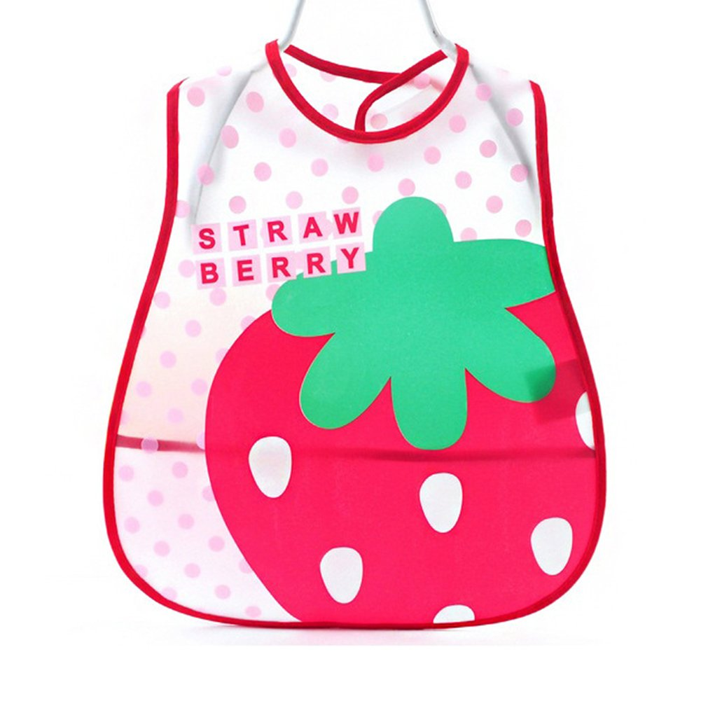 Unisex Baby Bib, Waterproof EVA Baby Bandana Drool Bib Apron for Infant Toddler Girls and Boys from 6 Months to 6 Years Old(Big Strawberry) Hinmay