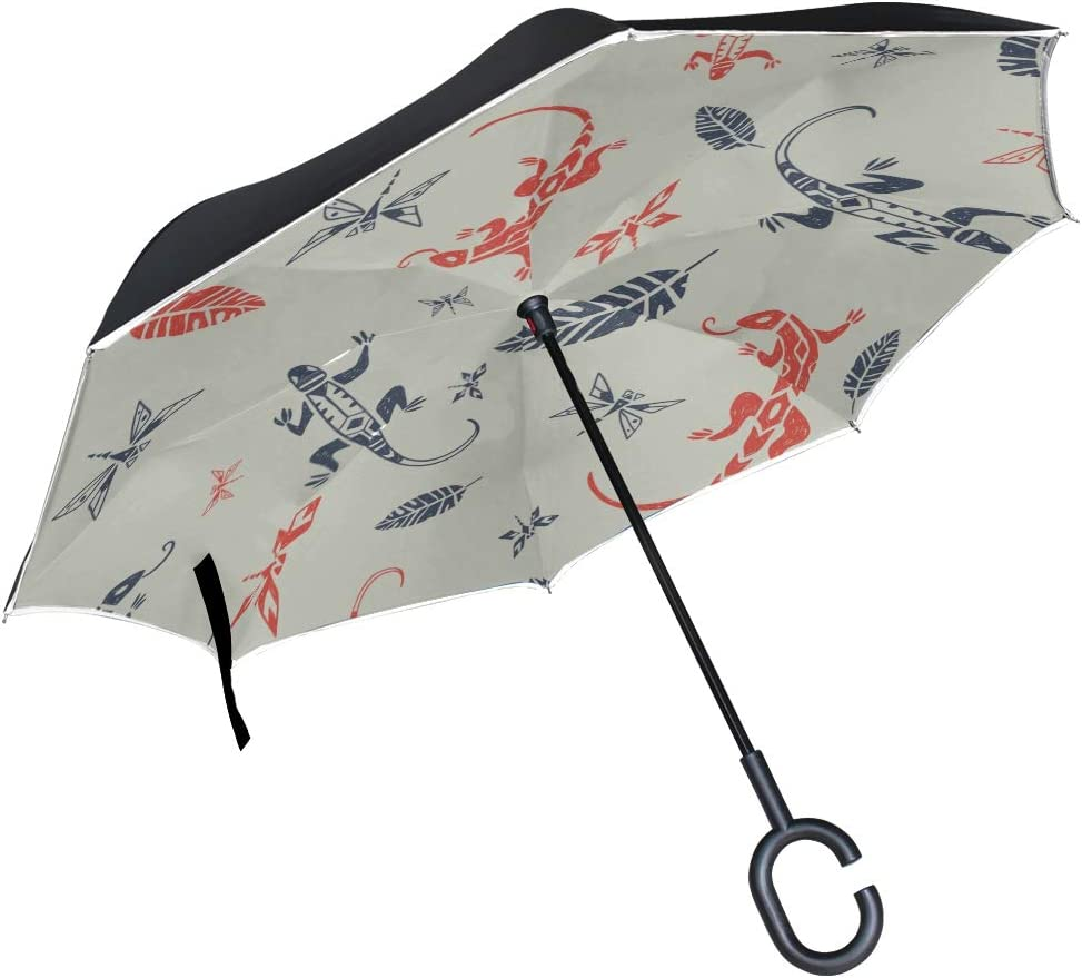 Double Layer Inverted Inverted Umbrella Is Light And Sturdy Pattern Ornamental Lizards Dragonflies Reverse Umbrella And Windproof Umbrella Edge Night
