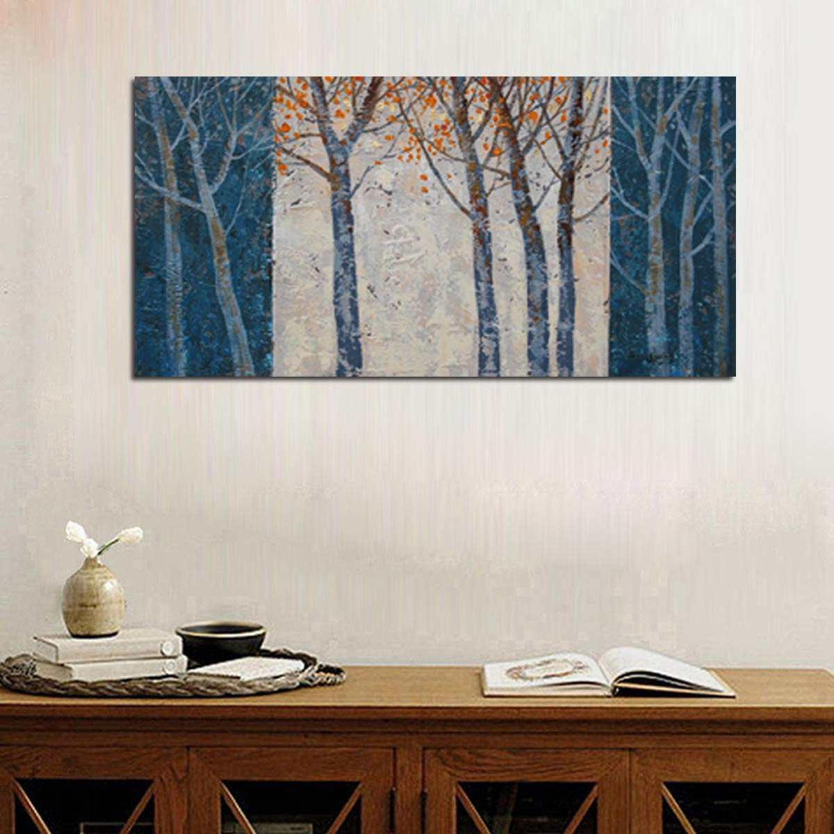 Arjun Riyue Canvas Wall Art Prints Forest Tree Grey Blue Painting Contemporary Abstract Long Wood Picture Framed Ready to Hang for Living Room Bedroom Offfice Home Decor 40''x20'', Original Design by Arjun Riyue (Image #5)