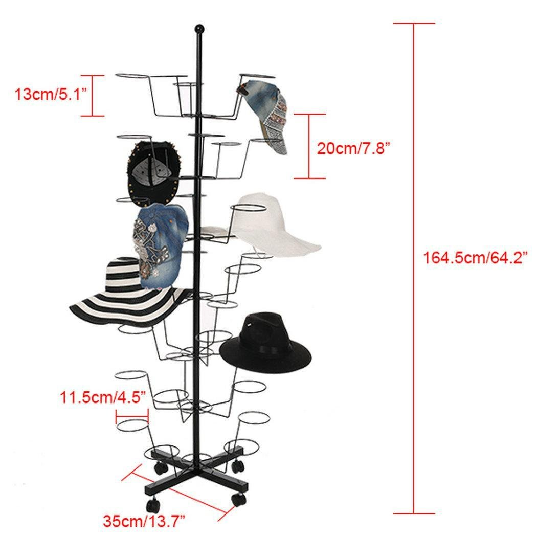 Creine Hat Display Rack Stand, 7 Tier 35 Circular Cap Display Retail Rotating Adjustable Metal Free Standing Floor Stand Hanger Rack Organizer, 4 Wheels with Brake (US Stock)