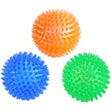 Orgrimmar 3 Pieces Pet Squeaky Chewing Balls Dog Soft Stab Balls Cleaning Teeth Toys Balls with High Bounce for Small…
