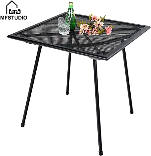 MF STUDIO 27 Black Bistro Garden Mesh Table Patio Metal Steel Square Dining Table for Backyard, Top Outdoor Coffee Table, Black