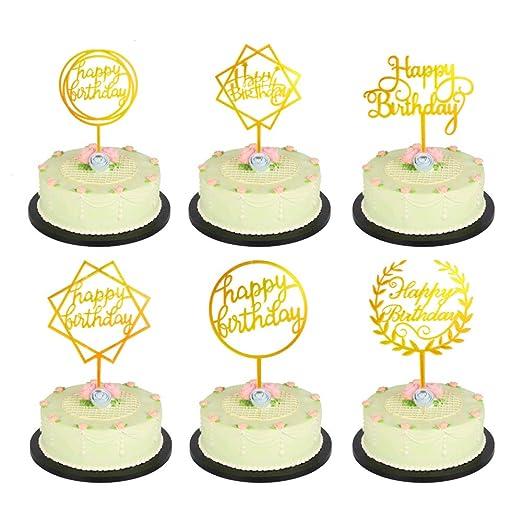 NACTECH 6 pcs Cake Topper para Tartas de Cumpleaños 6 Estilo ...