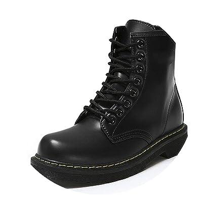 e447d224fe063 Amazon.com | Winter Ankle Boots Pu Leather Women Boots Fashion Martin Boots  Women Work Shoes Black Round Toe Lace-Up Women Shoes Female Boots, Black  Plush, ...