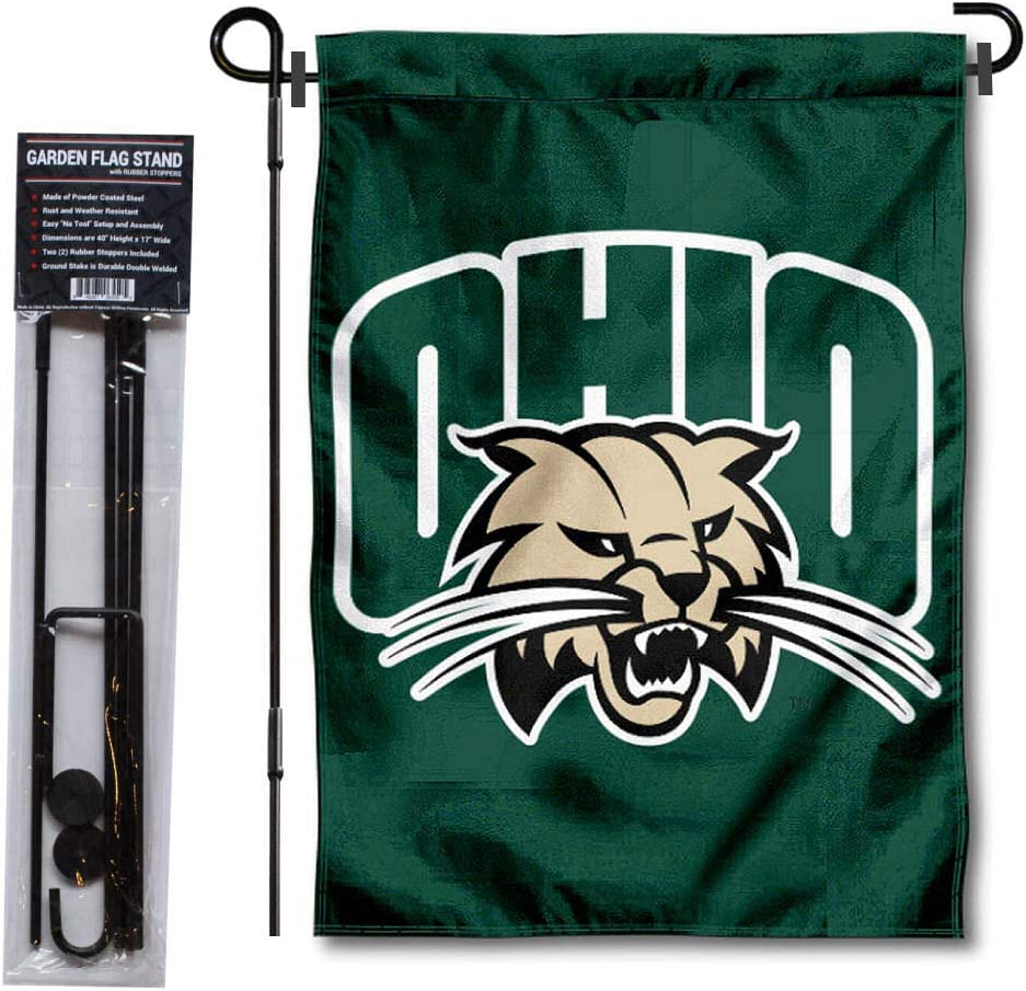 Ohio University Garden Flag and USA Flag Stand Pole Holder Set