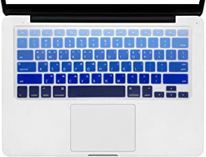 HRH Korean Silicone Keyboard Cover Skin for MacBook Air 13,MacBook Pro 13/15/17 (with or w/Out Retina Display, 2015 or Older Version)&Older iMac USA Layout Keyboard Protector-Ombre Blue