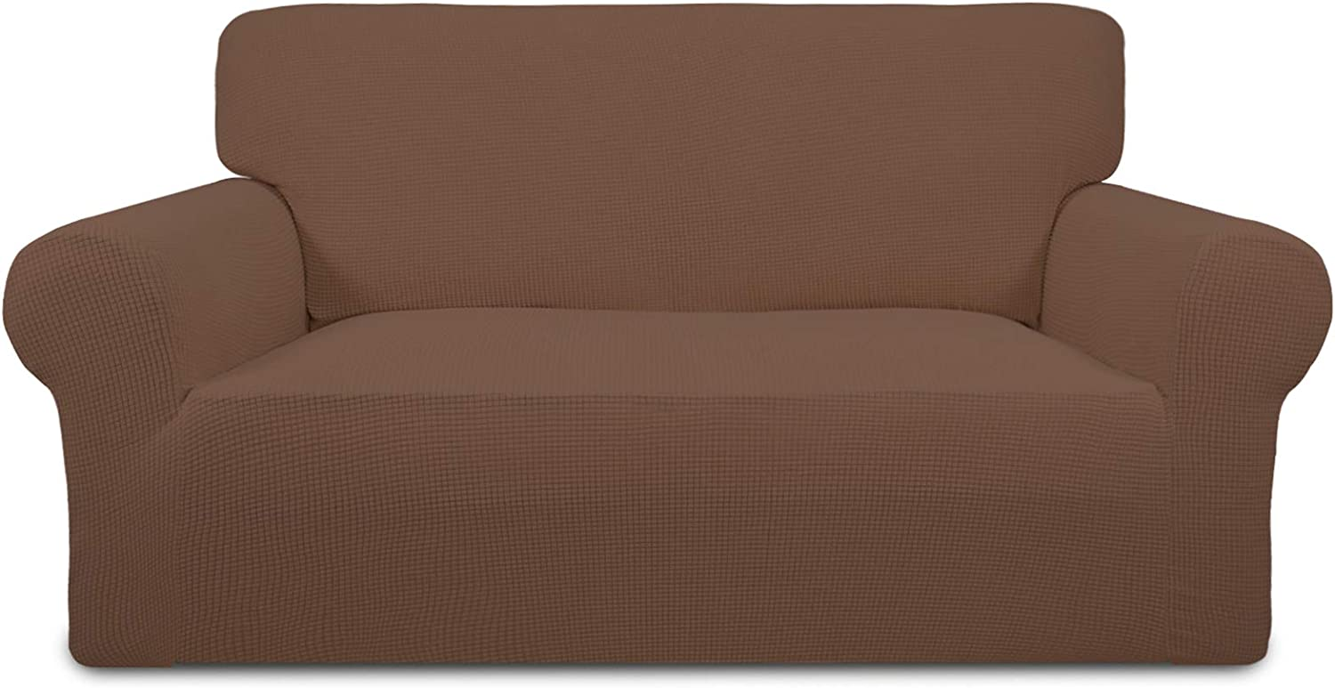 PureFit Stretch Loveseat Sofa Slipcover – Spandex Jacquard Non Slip Soft Couch Sofa Cover, Washable Furniture Protector with Non Skid Foam and Elastic Bottom for Kids (Loveseat, Brown)