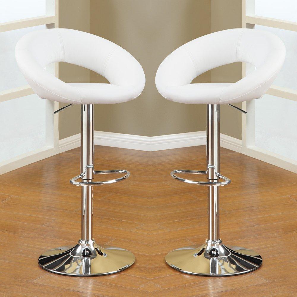 1PerfectChoice 2 pcs Adjustable Swivel Solar Ring Barstools Bar Pub Stool Footrest White PU
