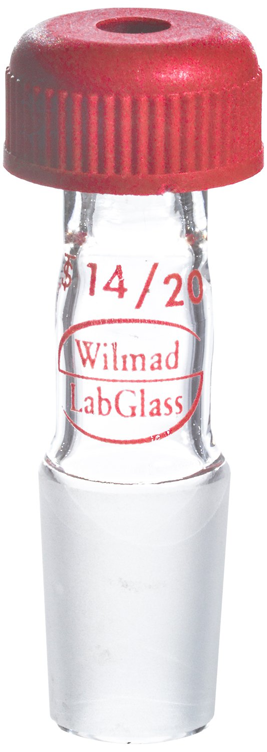 Wilmad-LabGlass LG-1451-104 Universal Inlet Adapter with Screw Cap, Standard Taper 14/20, 2-5mm Accom. Range