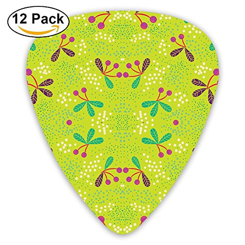 JSYAGSJ Guitar Picks Variety Pack For Electric Guitar Printed Cherries & Dots On Chartreuse Medium Fabric (3474) Pattern 12 Pack