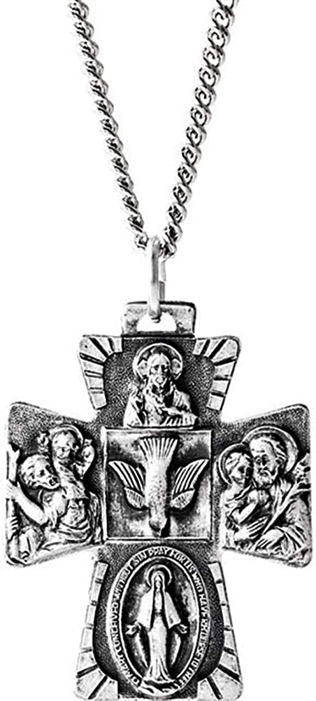Eliana and Eli Sterling Silver 28x23.5mm Four-Way Cross Medal 14 Necklace