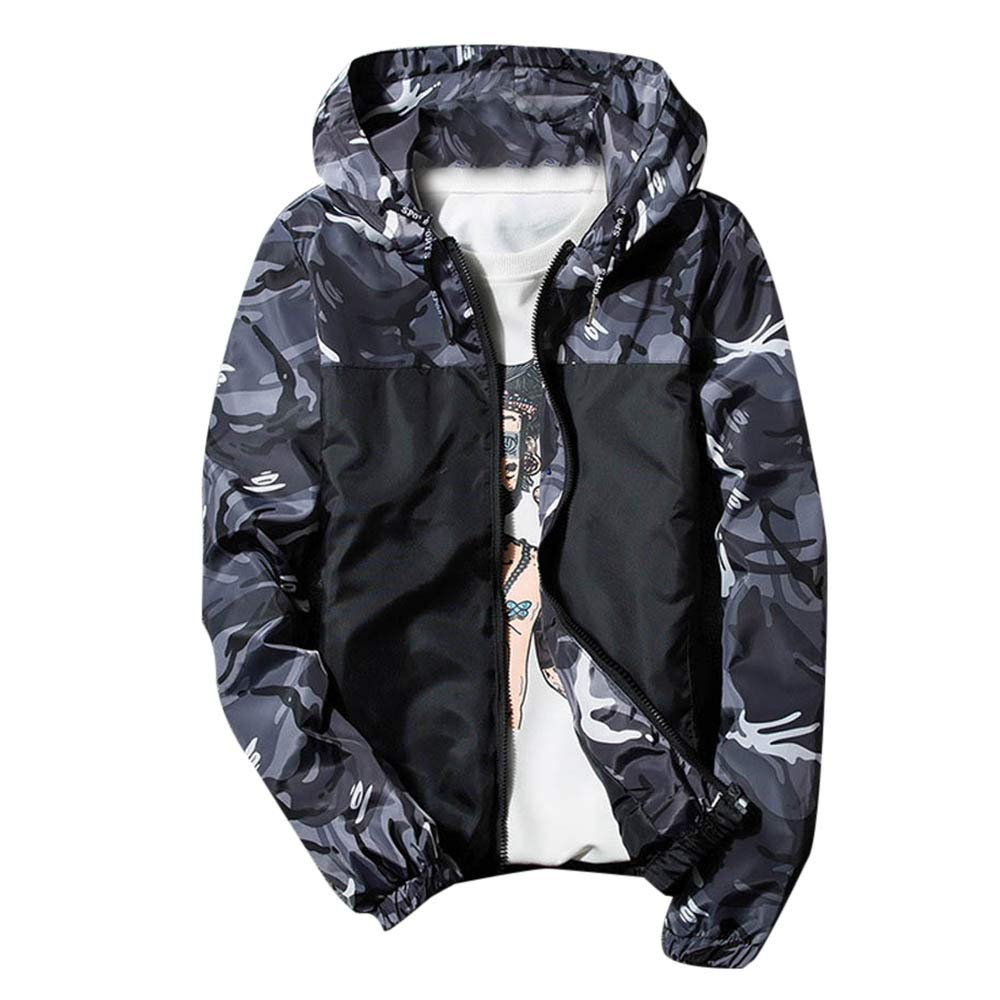 Funnygals - Men Jacket Casual Lightweight Rain Coat Camouflage Print Full Zip Bomber Jackets Coats Drawstring Hoodies by Funnygals - Clothing