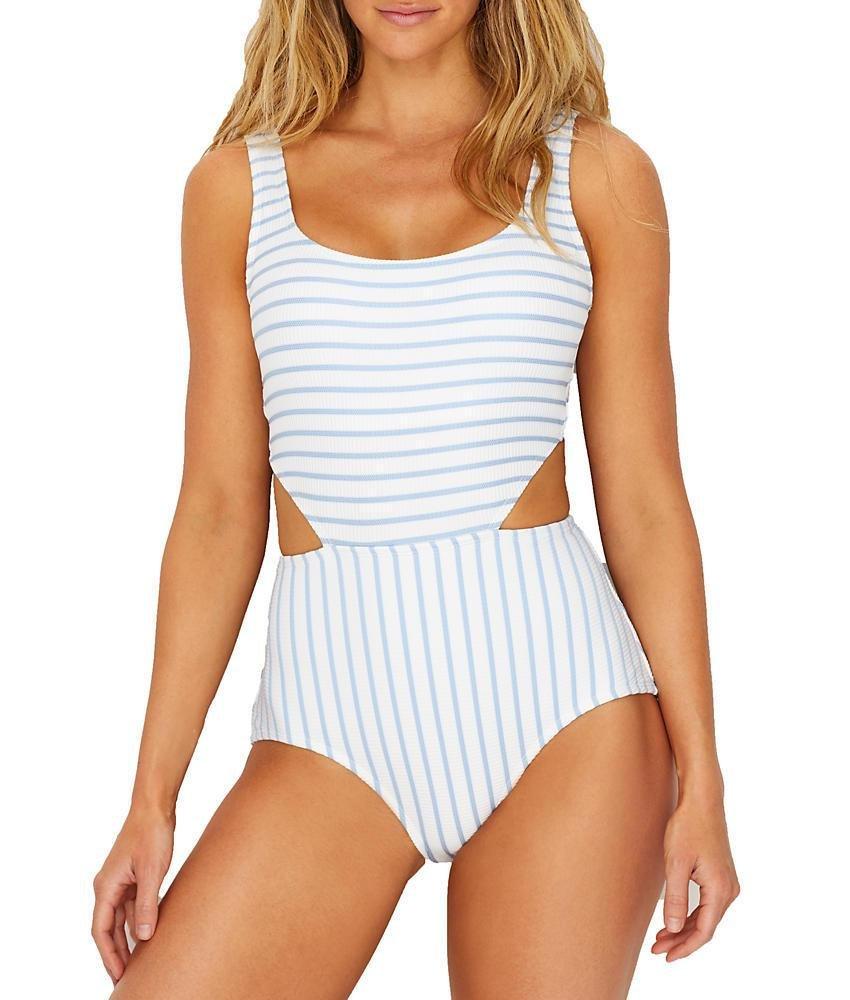 Anne Cole Women's Studio Striped Textured Sexy One Piece Swimsuit, Blue Stripe, 12
